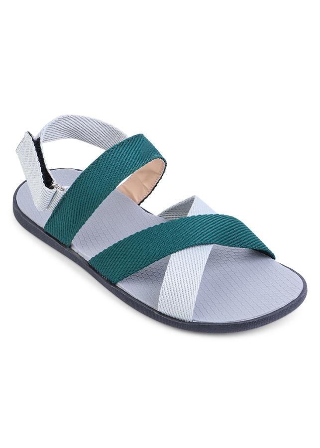 Giày Sandal Nam Quai Chéo Evest A249 - Xanh Lá Phối Trắng