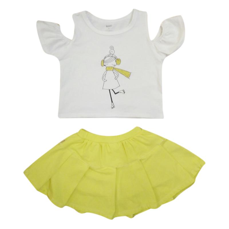 Bộ Áo Croptop Rớt Vai Và Váy Xòe Nanio AG032V0002 In Hình Cô Gái - Trắng Phối Vàng