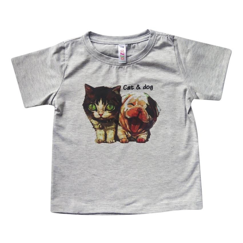 Áo Thun Tay Ngắn Cho Bé Cuckeo ATIN07 In Hình Chó Và Mèo - Xám