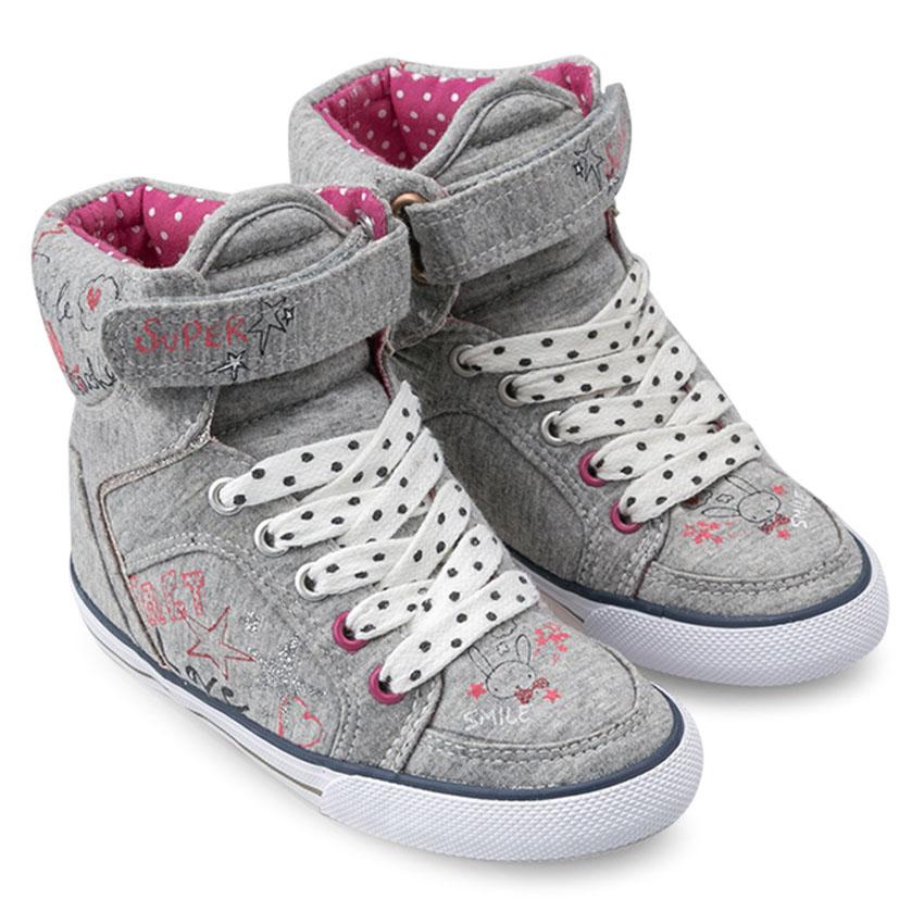 Giày Sneaker Cổ Cao Bé Gái DA BG1306 – Màu Ghi