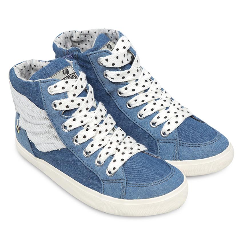 Giày Sneaker Bé Gái Cổ Cao In Cánh Thiên Thần DA BG1507 - Xanh Jean