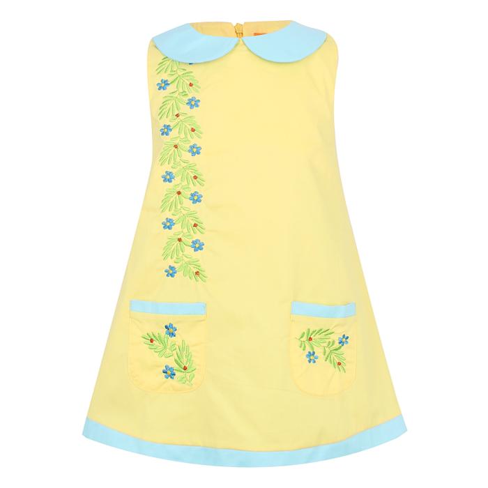 Đầm Sát Nách Cổ Sen Bé Gái VTA Kids BG60810 Thêu Hoa