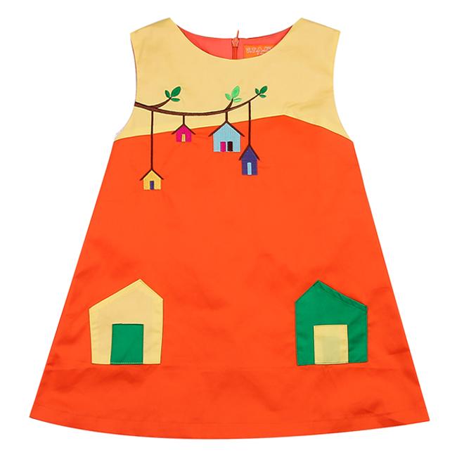 Đầm Thêu Họa Tiết Nhà VTA Kids BG70102 - Cam
