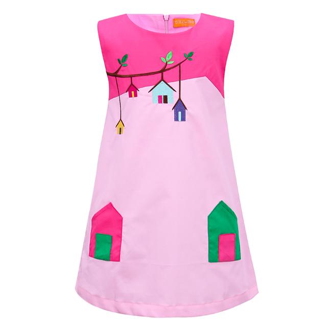 Đầm Thêu Họa Tiết Nhà VTA Kids BG70102 - Hồng Phấn