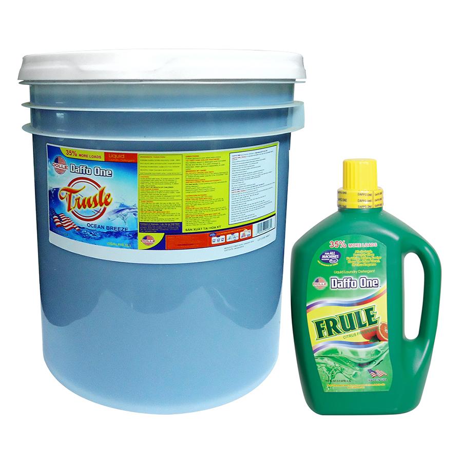 Bộ Nước Giặt Daffo One Frule Hương Cam Rừng (3.3L / Chai) + Nước Giặt Daffo One Trusle Hương Gió Biển (18.9L / Chai)