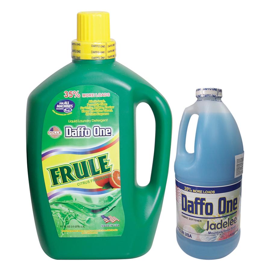 Bộ Nước Giặt Daffo One Frule Hương Cam Rừng (3.3L / Chai) + Nước Xả Vải Daffo One Jadelee Hương Hoa Rừng (1.9L / Chai)