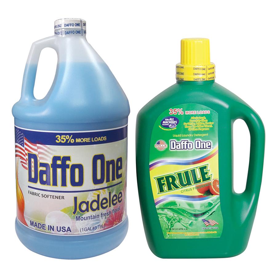 Bộ Nước Giặt Daffo One Frule Hương Cam Rừng (3.3L / Chai) + Nước Xả Vải Daffo One Jadelee Hương Hoa Rừng (3.8L / Chai)