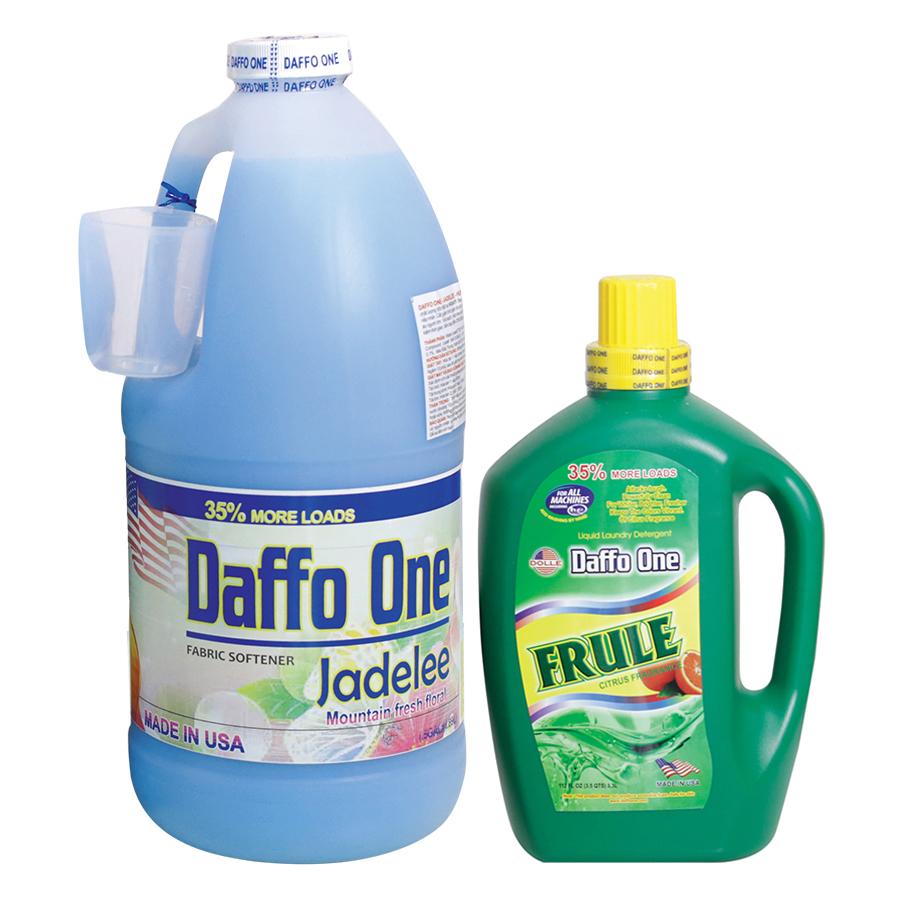 Bộ Nước Giặt Daffo One Frule Hương Cam Rừng (3.3L / Chai) + Nước Xả Vải Daffo One Jadelee Hương Hoa Rừng (18.9L / Chai)