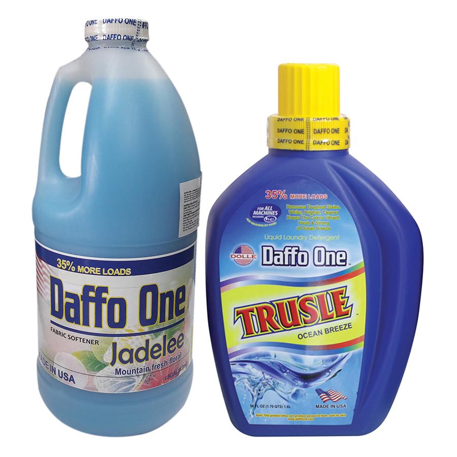 Bộ Nước Giặt Daffo One Trusle Hương Gió Biển (1.6L / Chai) + Nước Xả Vải Daffo One Jadelee Hương Hoa Rừng (1.9L / Chai)