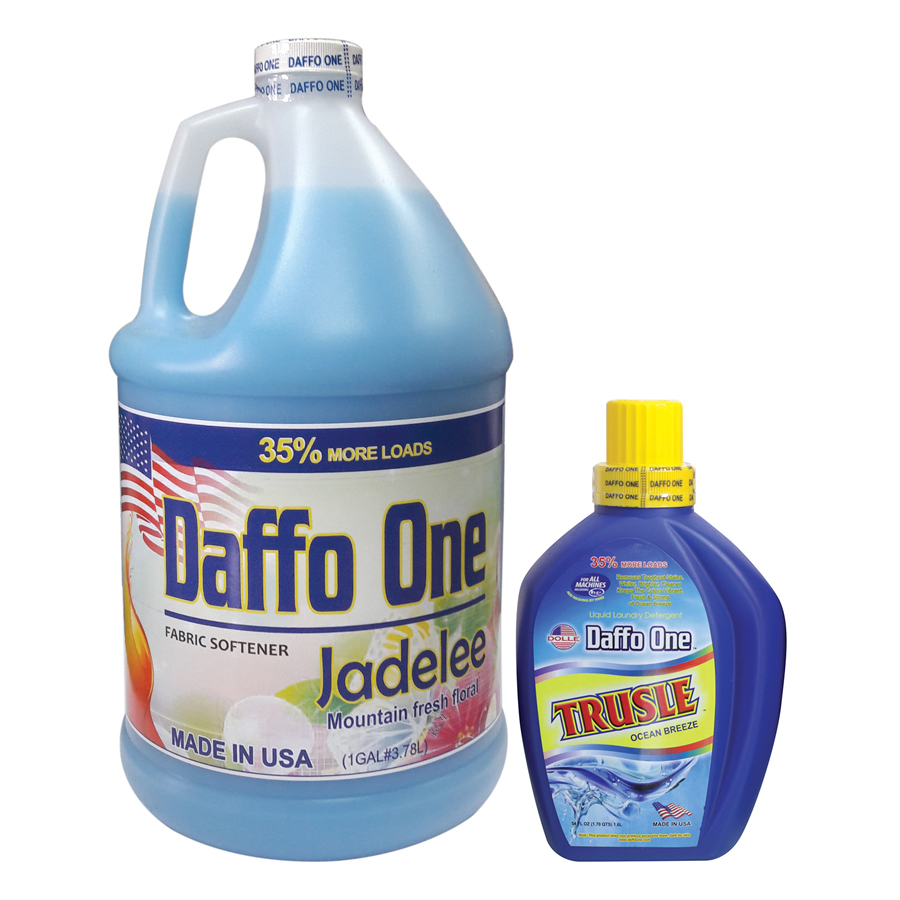 Bộ Nước Giặt Daffo One Trusle Hương Gió Biển (1.6L / Chai) + Nước Xả Vải Daffo One Jadelee Hương Hoa Rừng (3.8L / Chai)