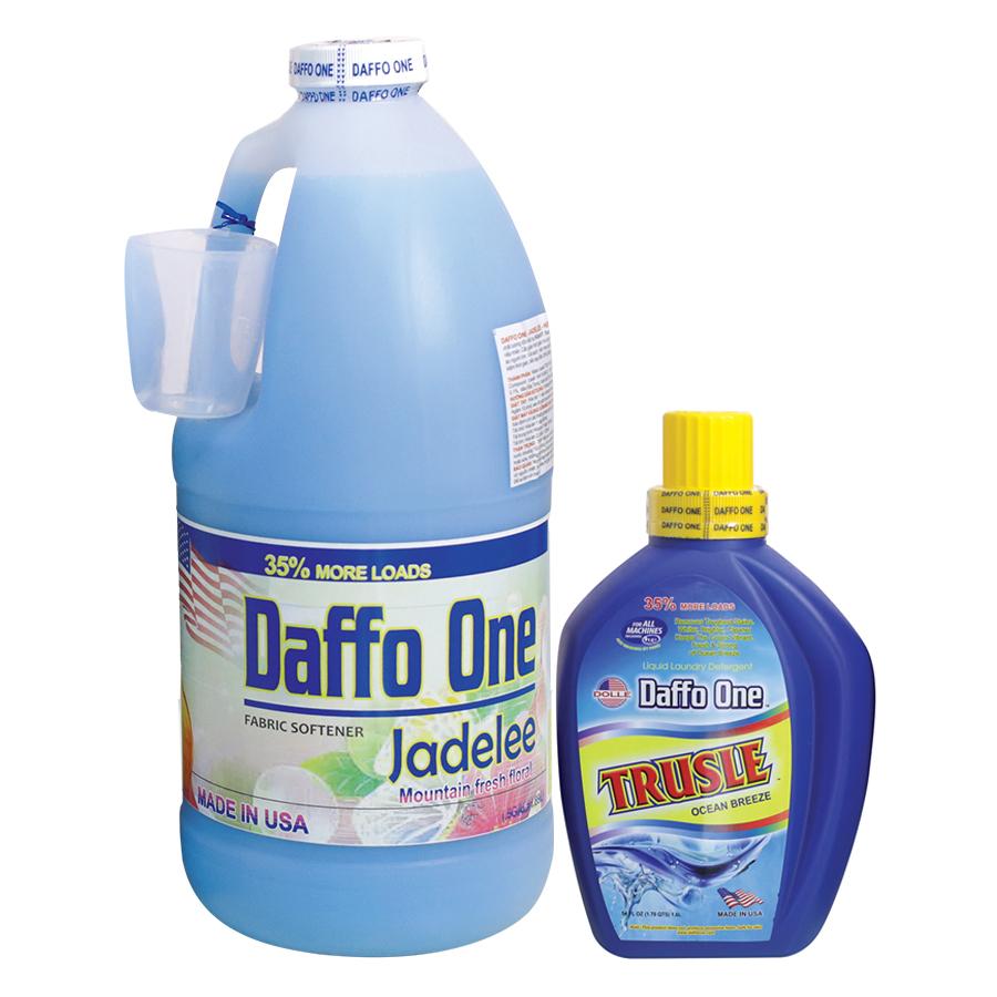 Bộ Nước Giặt Daffo One Trusle Hương Gió Biển (1.6L / Chai) + Nước Xả Vải Daffo One Jadelee Hương Hoa Rừng (18.9L / Chai)