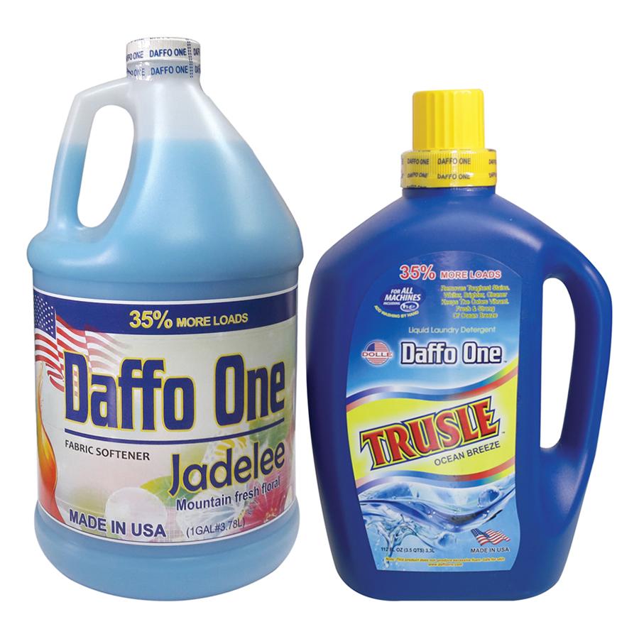 Bộ Nước Giặt Daffo One Trusle Hương Gió Biển (3.3L / Chai) + Nước Xả Vải Daffo One Jadelee Hương Hoa Rừng (3.8L / Chai)