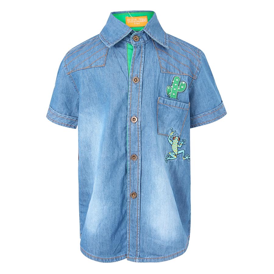 Áo Jeans Tay Ngắn VTA Kids BT70501 - Xanh