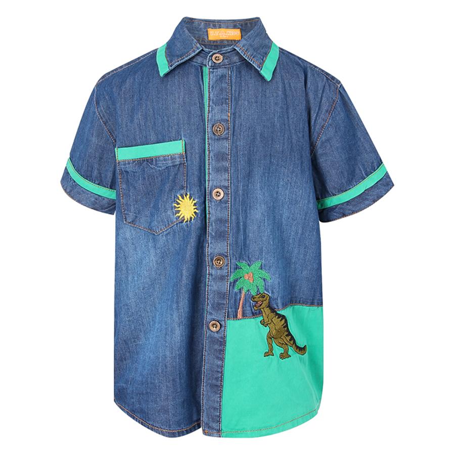 Áo Jeans Tay Ngắn VTA Kids BT70502 - Xanh