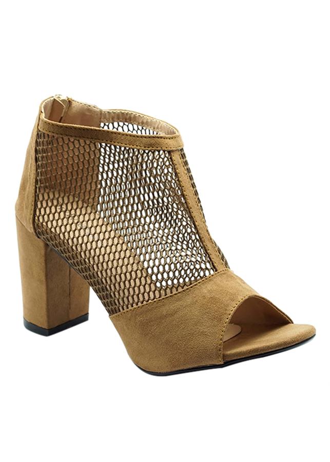 Giày Boot Nữ Phối Lưới Cindydrella CINDY30N - Nâu