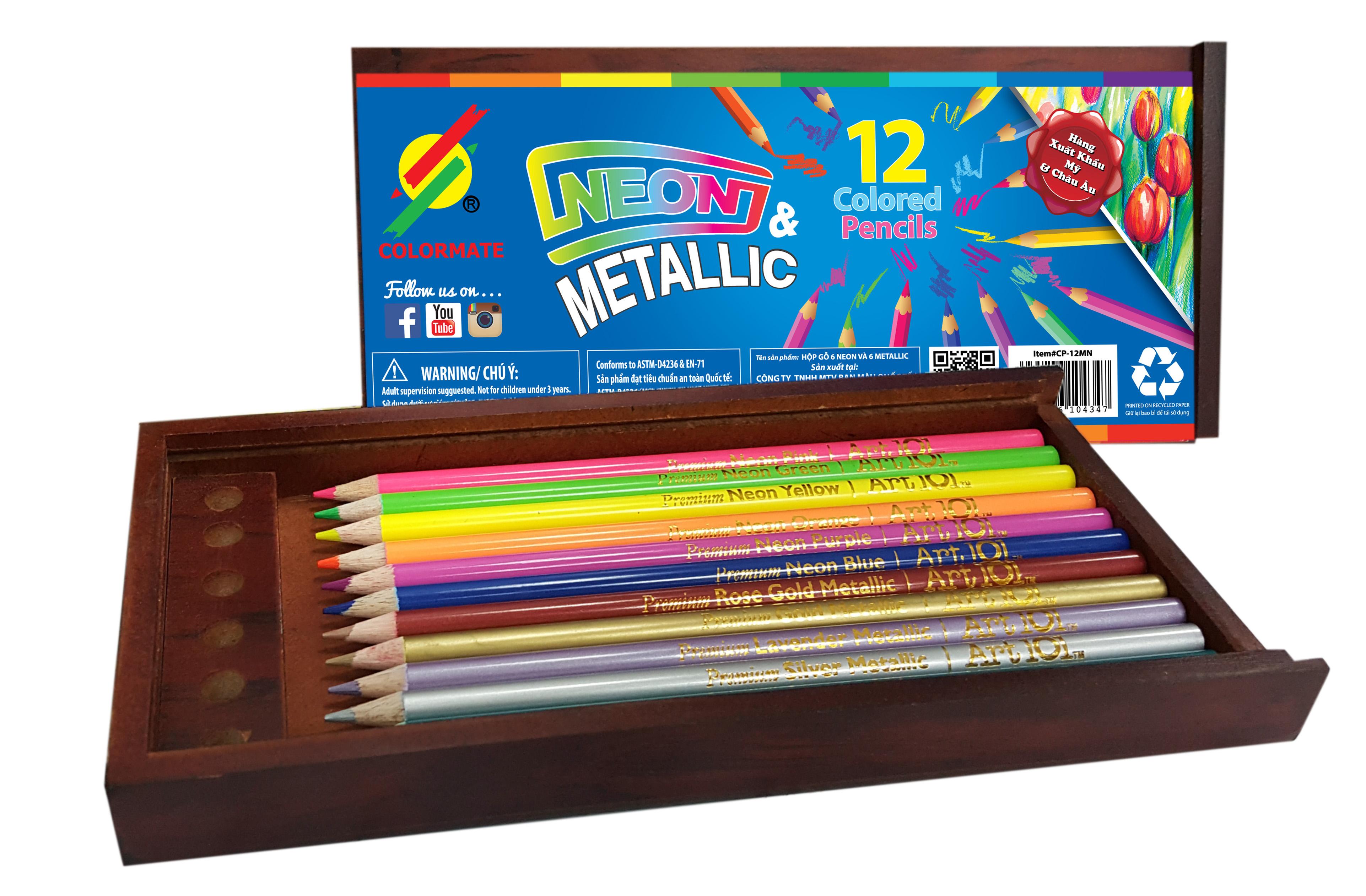 Hộp Gỗ 12 Cây Chì Colormate Metalic - Neon
