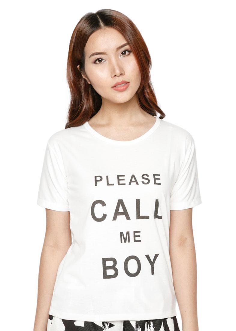 Áo Thun Nữ TD Call Me Boy Cực Cool D106 - Trắng