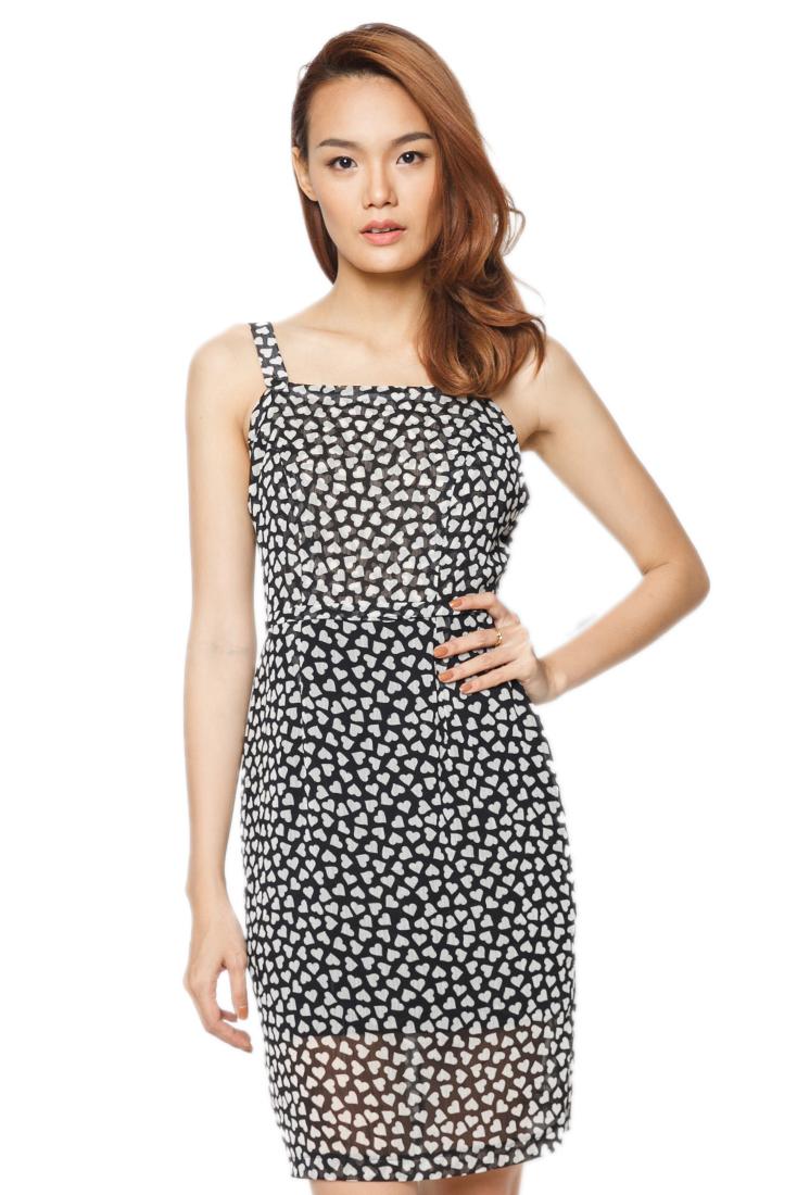 Đầm Họa Tiết Hai Dây Bản Lớn Labelle D170 - Đen