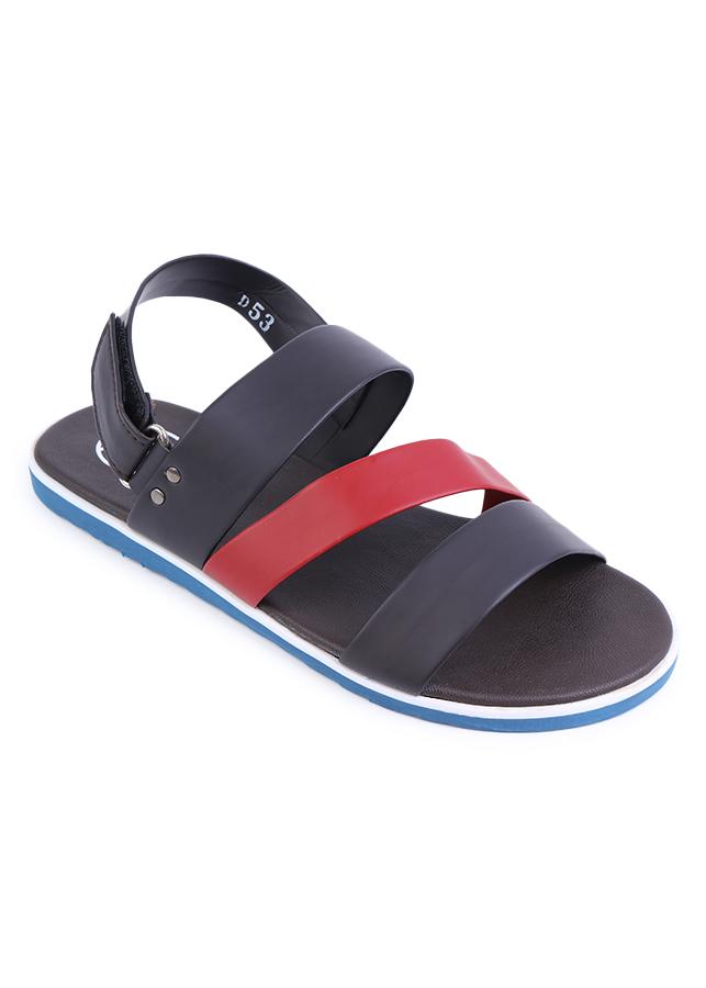 Giày Sandal Nam 3 Quai Ngang Evest D53 - Đen Phối Đỏ