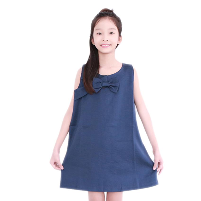 Đầm Suông Đính Nơ Ngực Bé Gái Cirino DB_NGỰC_XA – Xanh Đen
