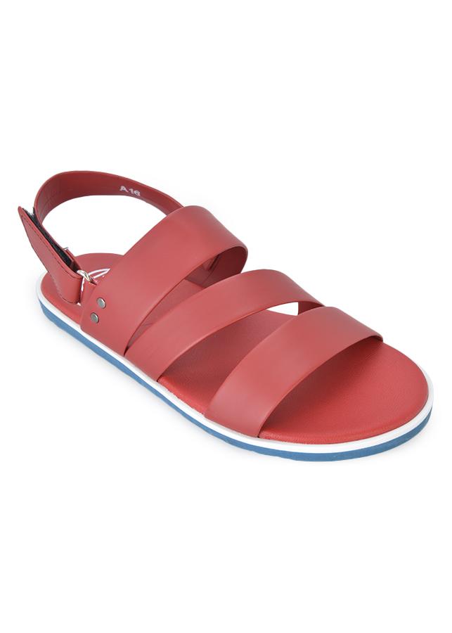 Giày Sandal Nam 3 Quai Ngang Evest D38 - Đỏ