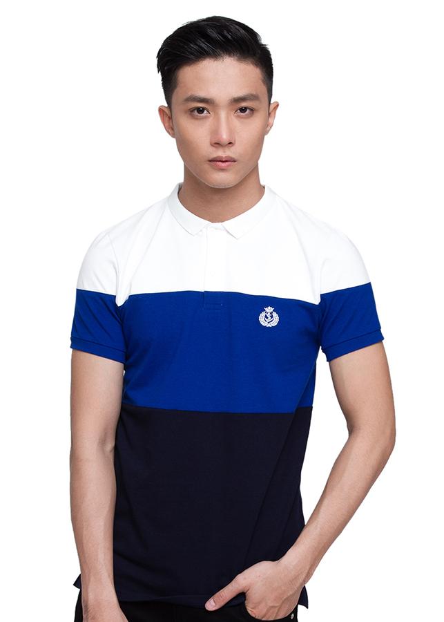 Áo Polo Nam F2 Fashion F2-POM-T-140 - Trắng Xanh Đen