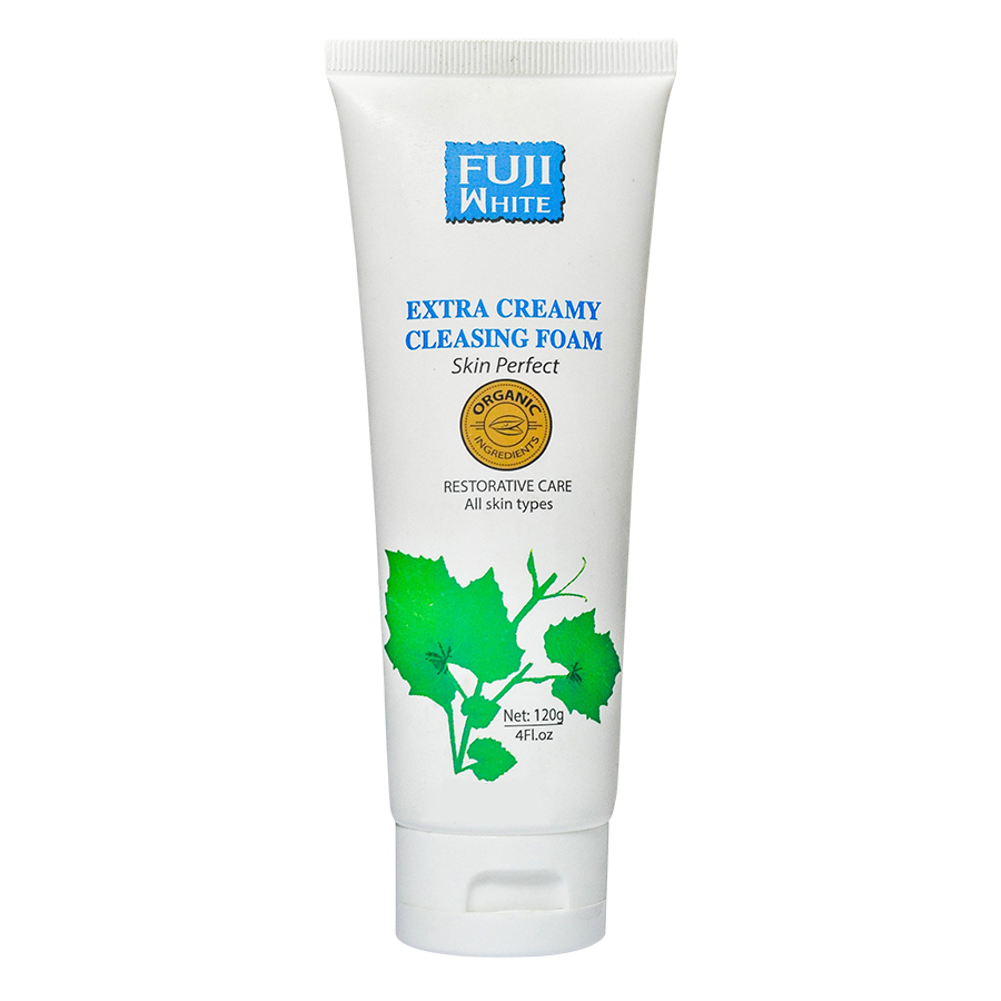 Sữa Rửa Mặt Sạch Da Thư Giãn Organic Fuji White Extra Creamy Cleansing Foam (120ml)