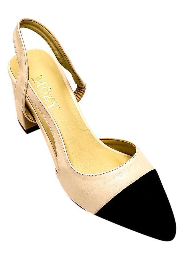 Giày Sandal Khoét Eo Phối Mũi Mozy MZSD027.1 - Kem