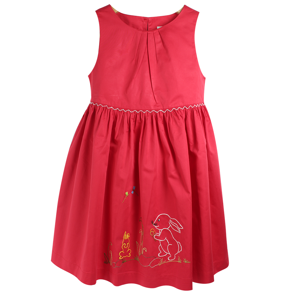 Đầm Xếp Ly Cổ Cho Bé Gái Ninh Khương 201114T - Đỏ