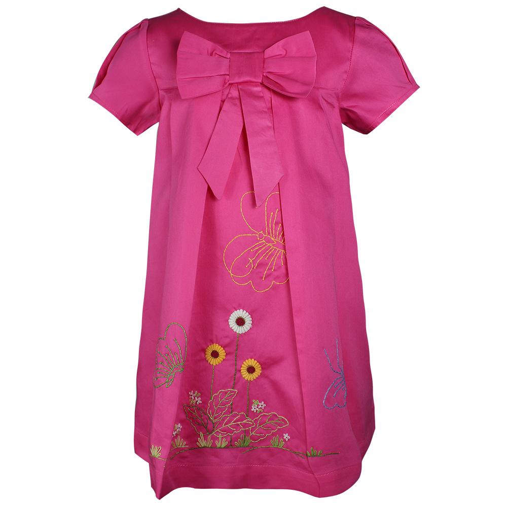 Đầm Tay Ngắn Đính Nơ Cho Bé Gái Ninh Khương 160115 - Hồng