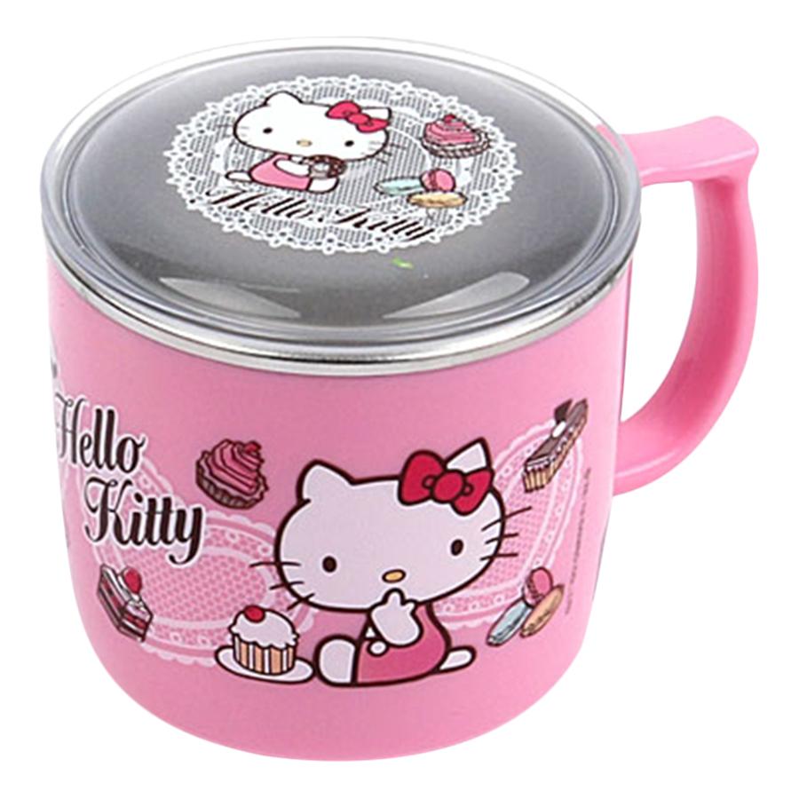 Ly Uống Nước Cho Bé Có Tay Cầm Và Nắp LockLock Hello Kitty Bằng Thép Không Gỉ LKT483 - Hồng (106 x 81 x 77 mm)