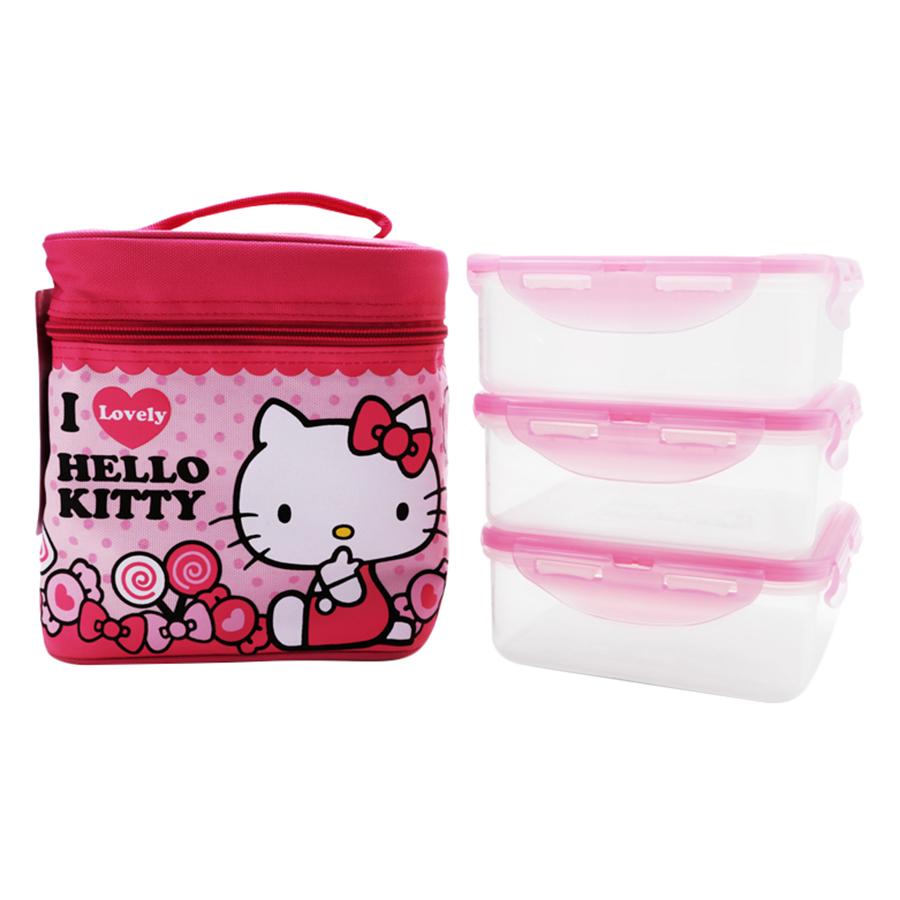 Bộ Hộp Nhựa Đựng Cơm LockLock Hello Kitty LKT741 (170 x 170 x 180 mm)