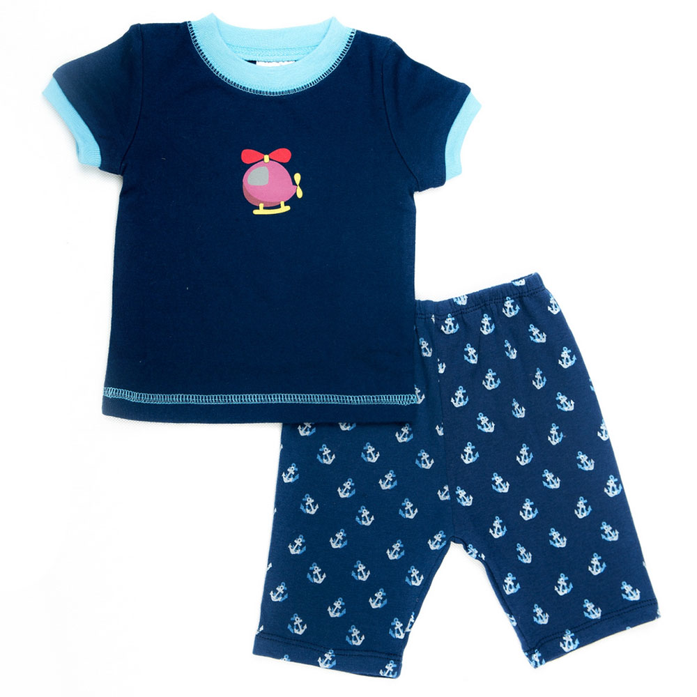 Set Pijama Tay Ngắn Cho Bé LullabyBaby NH03-14 - Xanh Navy