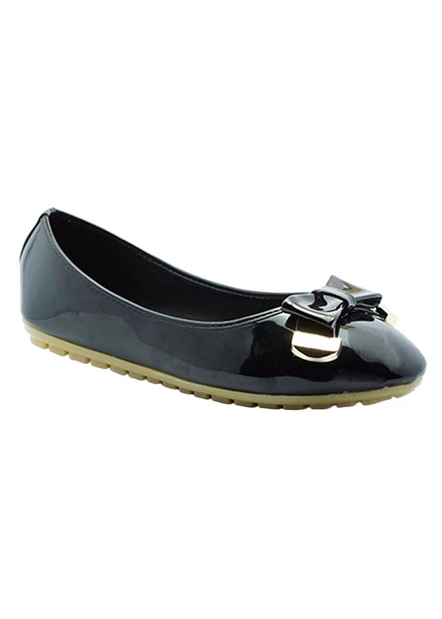 Giày Búp Bê Đính Nơ Phối Kim Loại Princess PRIN37D - Đen