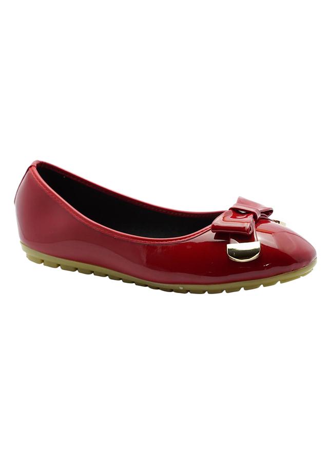 Giày Búp Bê Đính Nơ Phối Kim Loại Princess PRIN37O - Đỏ