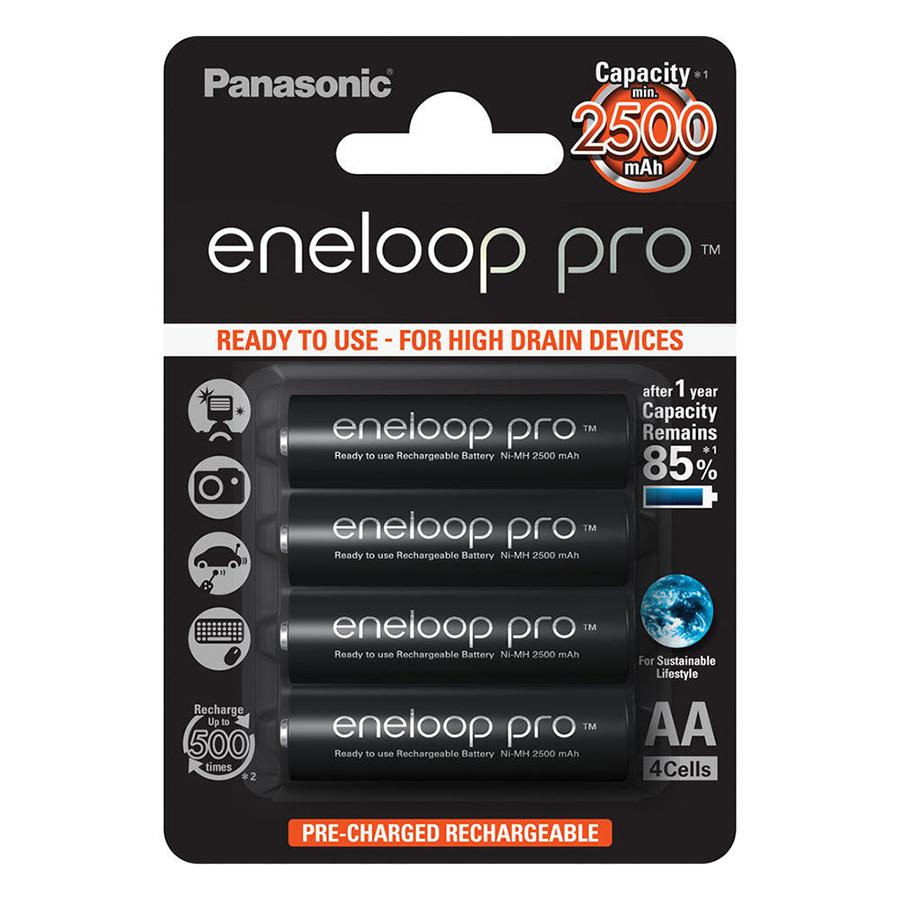 Bộ 4 Pin Sạc AA Panasonic Eneloop Pro (2500mAh) - Hàng Nhập Khẩu