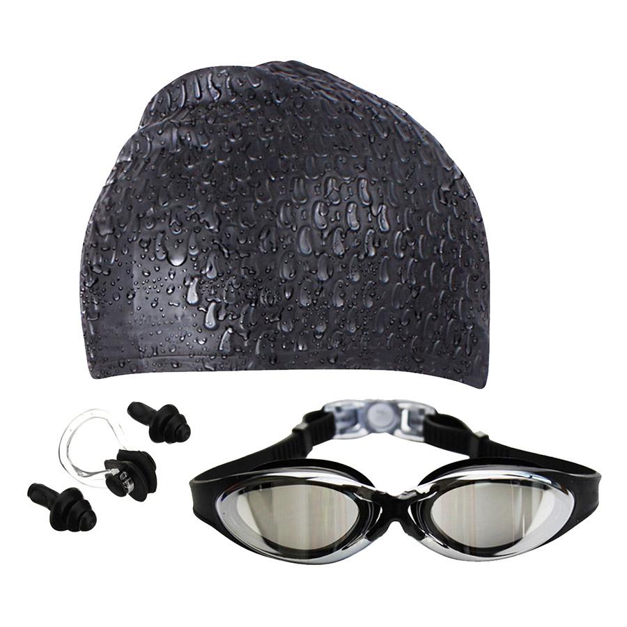 Bộ Kính Bơi - Mũ Bơi - Bịt Tai Kẹp Mũi POPO SetG300-Black - Đen