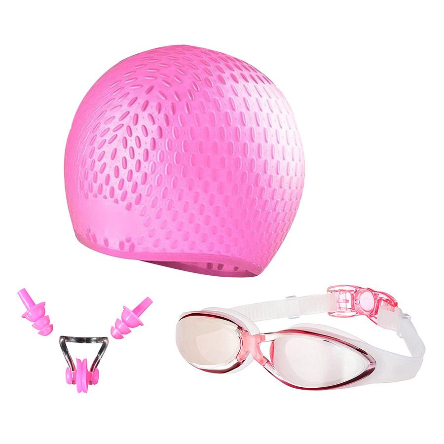 Bộ Kính Bơi - Mũ Bơi - Bịt Tai Kẹp Mũi POPO SetG300-Pink - Hồng
