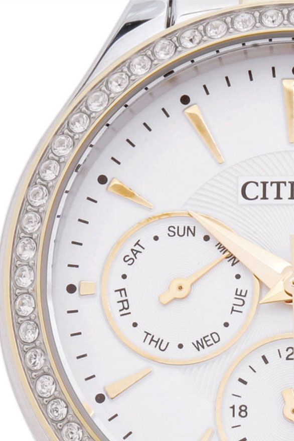Đồng Hồ Citizen Nữ Đính Đá Swarovski Dây Kim Loại Pin-Quartz ED8164-59A - Mặt Trắng