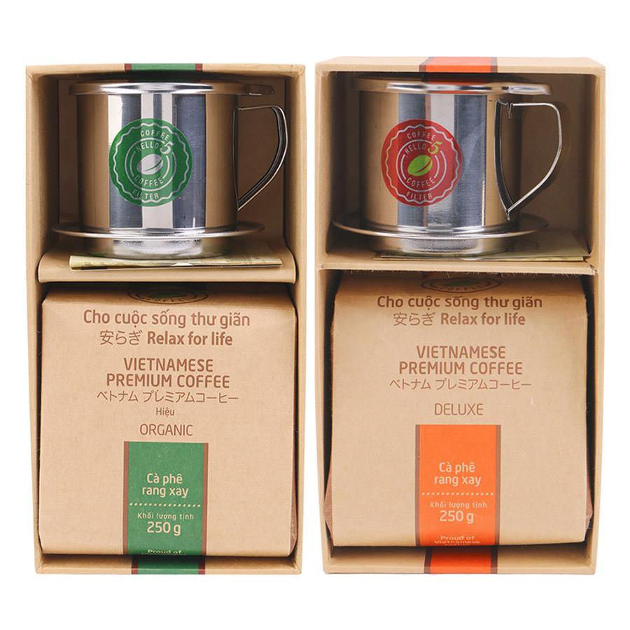 Bộ 1 Túi Cà Phê Hello 5 Coffee Hộp Quà Tặng Organic Màu Xanh  1 Cà Phê Hello 5 Coffee Hộp Quà Tặng Deluxe Màu Đỏ
