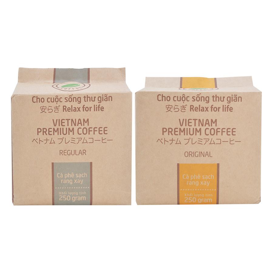 Bộ 1 Túi Cà Phê Regular Hello 5 Coffee 250g  1 Túi Cà Phê Original Hello 5 Coffee 250g