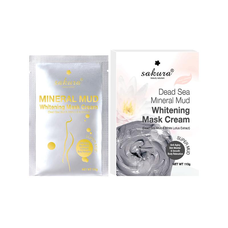 Kem Tắm Trắng Bùn Khoáng Và Tinh Chất Sen Trắng Sakura Dead Sea Mud Whitening Mask Cream (110g)