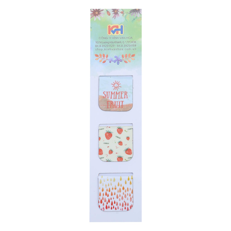 Bộ 3 Bookmark Nam Châm Kính Vạn Hoa - Summer Fruits: Strawberry