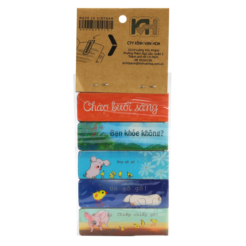 Bộ 5 Bookmark Nam Châm Kính Vạn Hoa - Chúc Một Ngày Tốt Lành