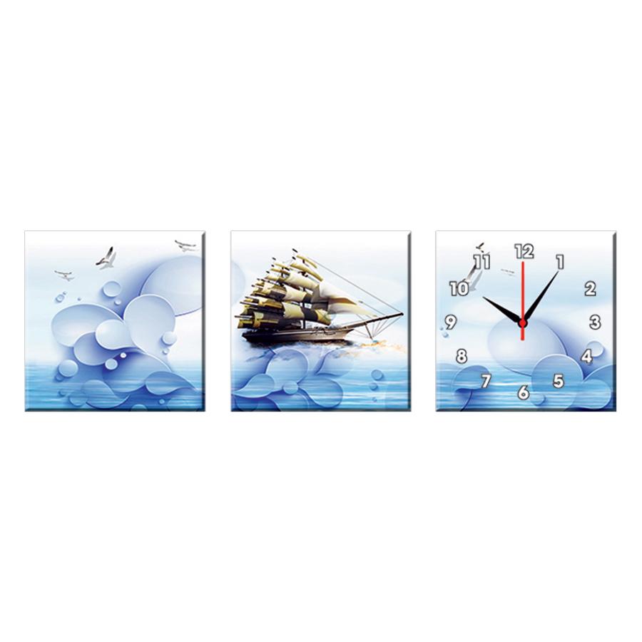 Bộ Ba Tranh Đồng Hồ Treo Tường Thế Giới Tranh Đẹp Q16-134-DH