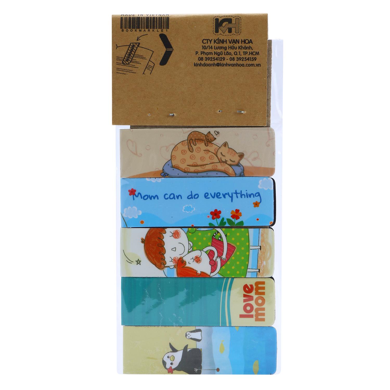 Bộ 5 Bookmark Nam Châm Kính Vạn Hoa - Mom