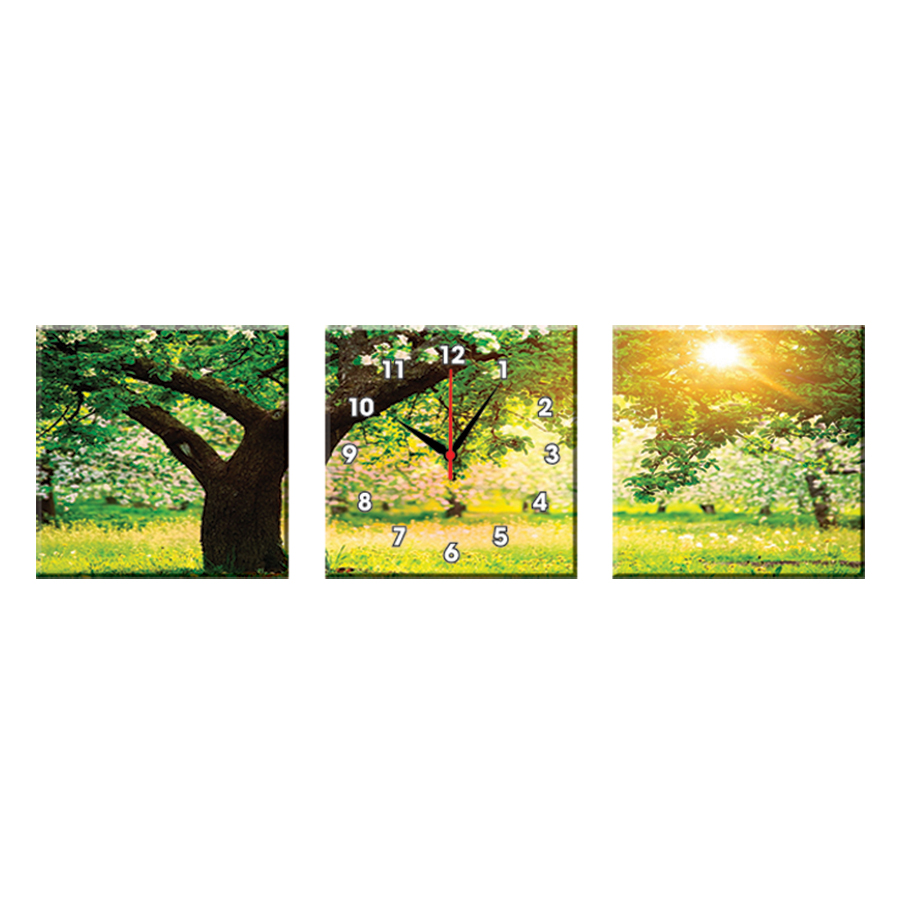 Bộ Ba Tranh Đồng Hồ Treo Tường Thế Giới Tranh Đẹp Q16-12-DH