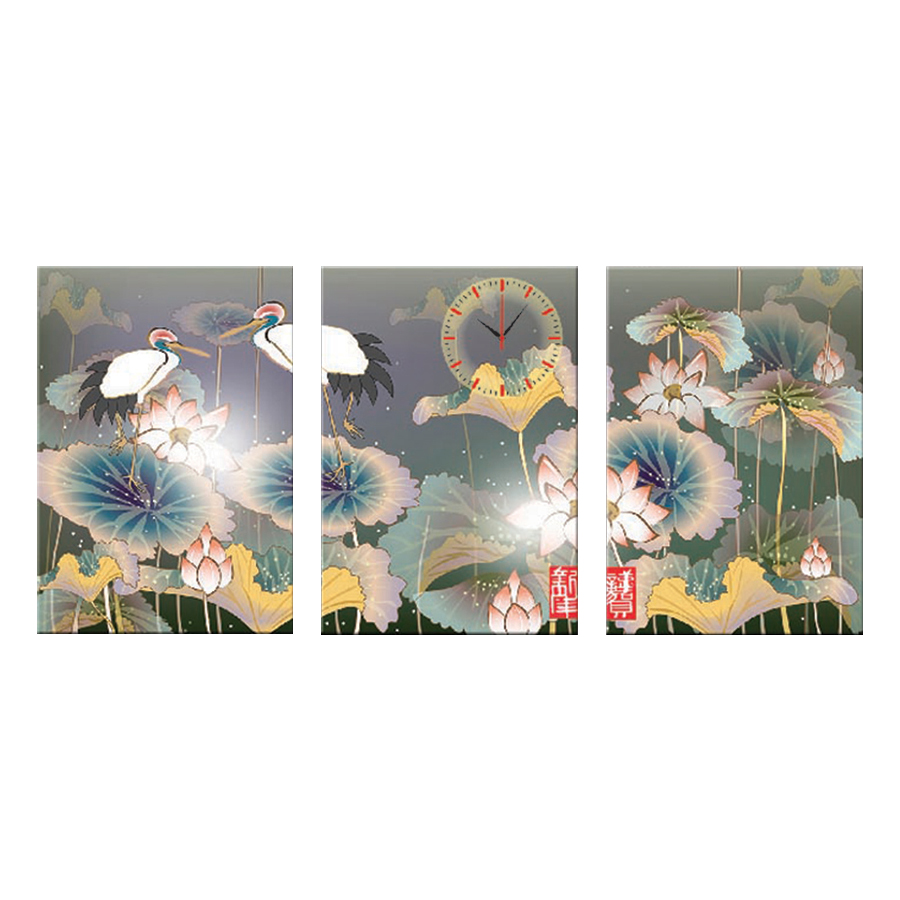 Tranh đồng hồ treo tường SEN XANH NGỌC NGÀ ĐẠI PHÚ QUÝ - Q6D6_35DH(9) Thế Giới Tranh Đẹp