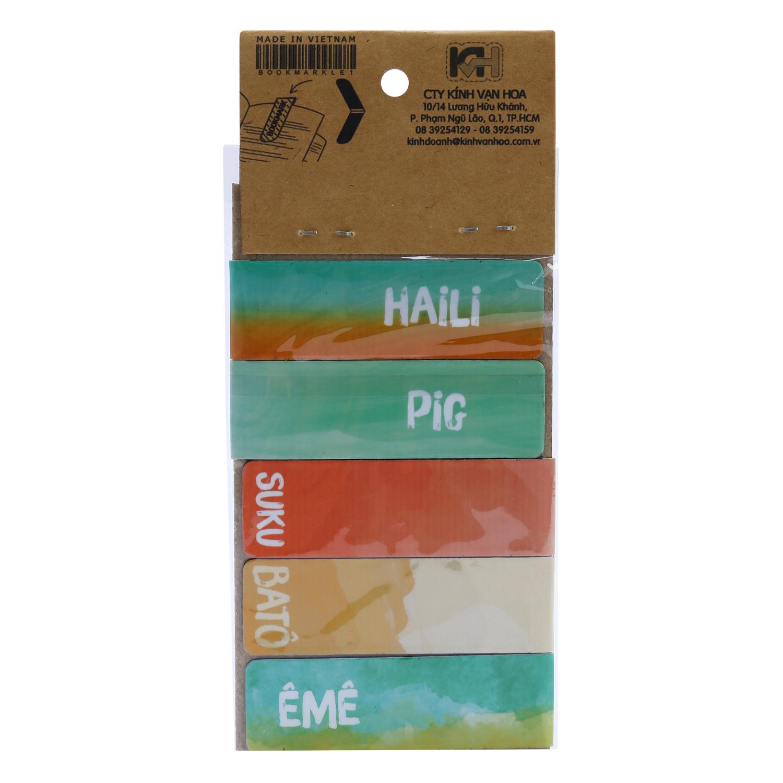 Bộ 5 Bookmark Nam Châm Kính Vạn Hoa - Con Chó Nhỏ Mang Giỏ Hoa Hồng