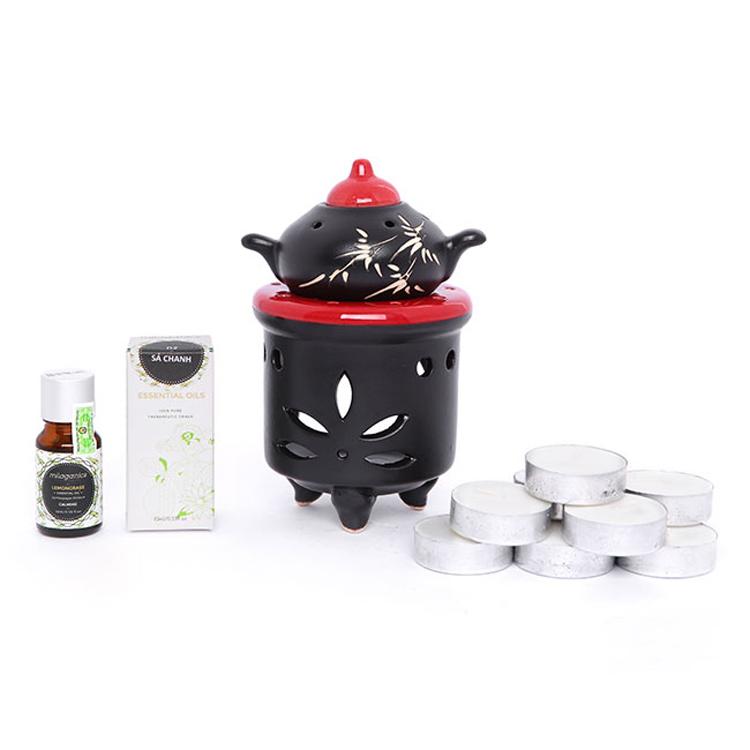 Combo Đèn Xông Tinh Dầu Nến Hình Ấm Milaganics Đỏ + Tinh Dầu Pơmu Milaganics 10ml + Nến Tealight (Hộp 10 Viên)